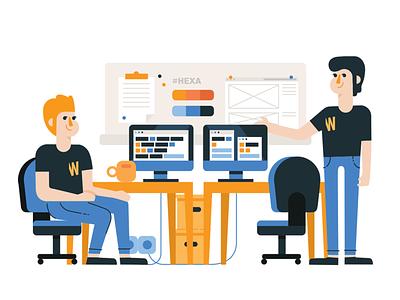Web Studio 03 webdesign work office webagency vector figurative illustration