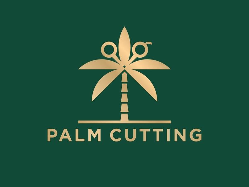 Palm Cutting Logo coconut logoidea logodesign sea premium golden luxurious luxury steel tool cut beach plant nature tree leaf tropical palm summer