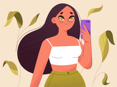 Girl takes a selfie plants selfies selfie girl girl character flat web vector illustration design