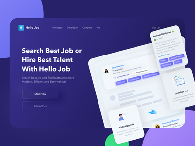 Hello Job Header Website webdesign header website neumorphism dark uiux ui