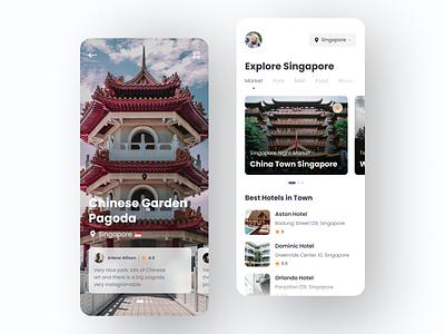 Travel App - Explore Singapore uiux simple ui design ios ux app app design iphone iphone x cool travel app clean ui ux ui