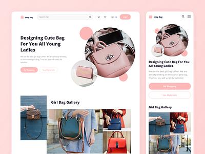 Shop Bag | Online Shop UI Kit & Dashboard branding illustration website online shop shop girl pink clean webdesign web app bag ui kit ui ux ux ui