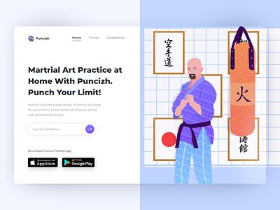 Puniczh - Martrial Art Header Exploration illust uiux webdesign website header hero martrial art kungfu karate illustration clean ui ux ux ui