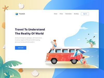 Travel Website Landing Page ux design clean sketch illustation beach travel web ui ux ui