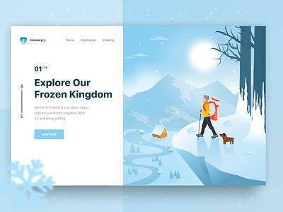 Winter Tour Exploration Landing Page ux blue snow winter travel website landing page design clean illustration ui ux ui