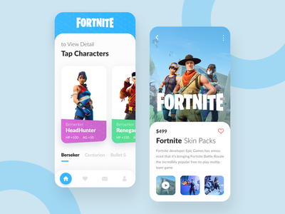 Fortnite App Exploration blue app design design simple ui ios iphone x clean app ux web game app game ux  ui uiuxdesign ui