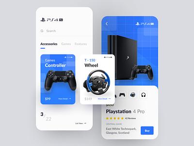 Playstation 4 Pro App Exploration app ios iphone x exploration e commerce ps 4 cool blue modern clean app design store app shop online shop shop ux ui ui ux