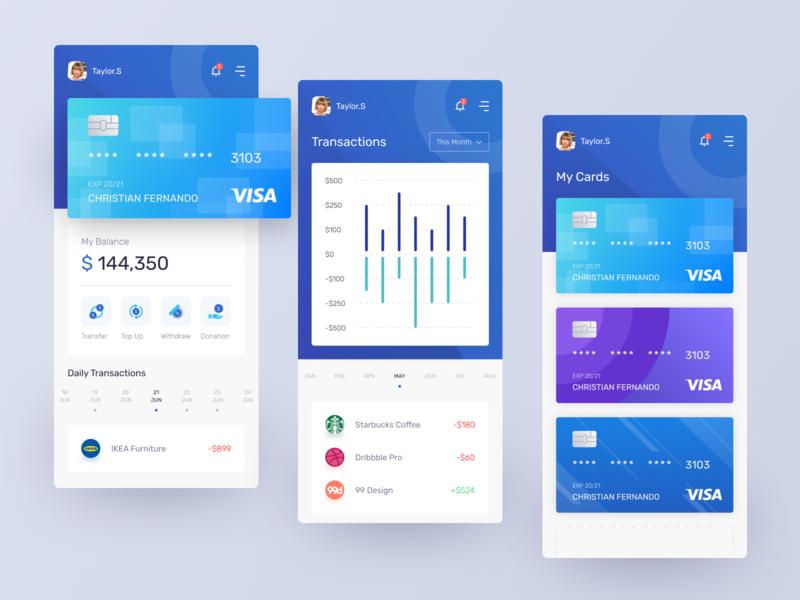 Banking App Exploration blue app ui design card mobile apps bank app app design mobile app uxui uiux ui