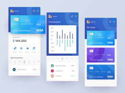 Banking App Exploration blue app ui design card mobile apps bank app app design mobile app uxui uiux ui