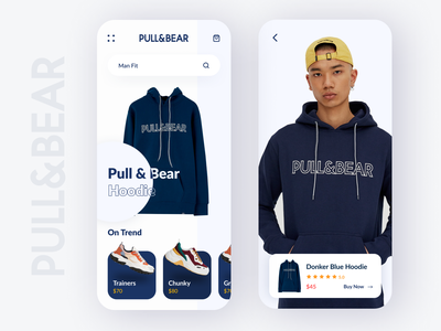 PULL & BEAR Shop Exploration online shop design app design simple ui ios iphone x app ui ux clean ux ui