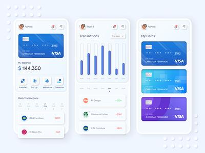 Banking App Neumorphism Exploration blender 3d neumorphism app design simple ui design ios iphone x app ui ux clean ux ui
