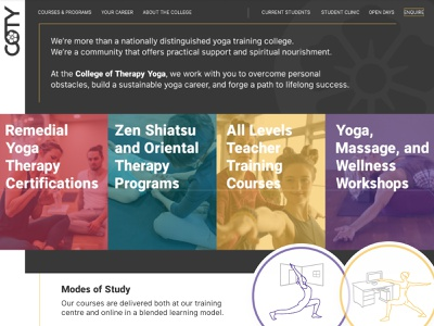 Yoga College Site | Banner Area univeristy college education brand identity yoga course yoga studio yoga training ui ux website site design yoga