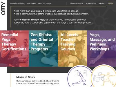Yoga College Site   Banner Area univeristy college education brand identity yoga course yoga studio yoga training ui ux website site design yoga