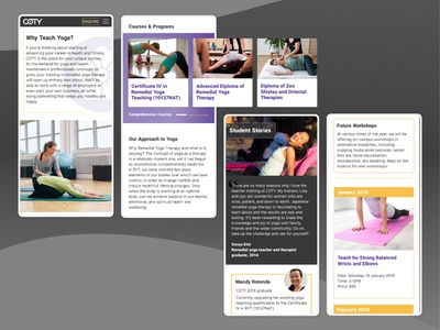 Yoga College Mobile training center education website yoga site yoga therapy ui ux education yoga courses yoga training yoga school yoga