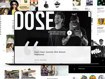 Dose Media Inc. Website typography logo design wordpress madewithxd illustration ux logo ui branding web design