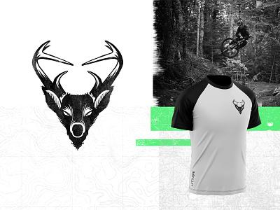 Let'r Buck - Detail envelope deer buck ride jersey mountain biking mtb vector illustration logo branding