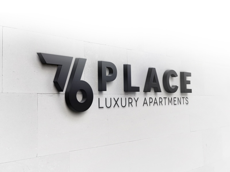 76 Place Luxury Apartments  logo 76 typography wordmark branding
