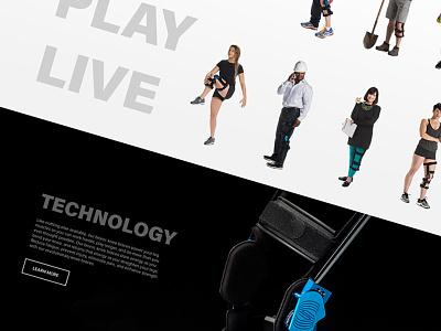Models & Tech photography athletics knee braces wordpress ux ui web design