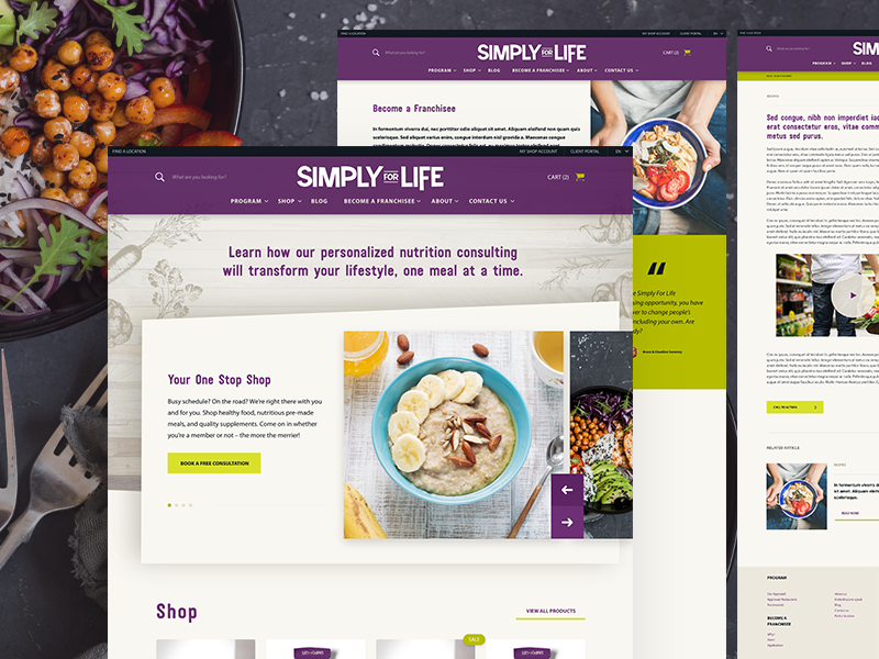Simply For Life - Web Design ecommerce fresh healthy eating health food ui web design branding