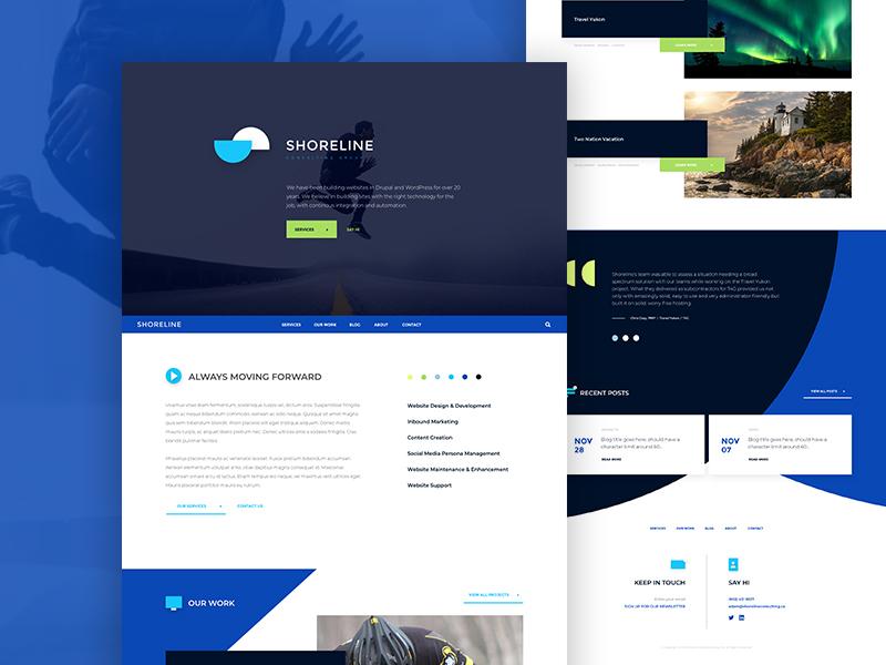 Shoreline Website Design xd drupal geometric s iconography icon web design ui branding