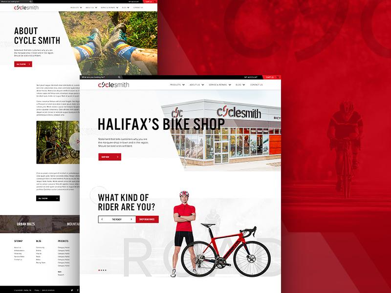 Cyclesmith Website Design ecommerce smartetailing bike shop ux web design ui branding