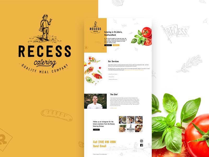 Recess Catering - Website chef food logo design illustration catering web design ui branding