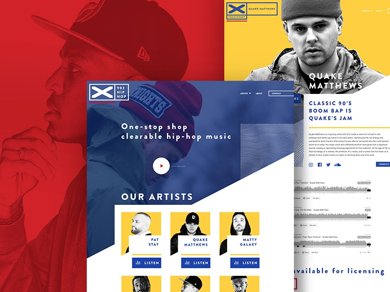 902 Hip Hop - Website responsive artists angles label music hip hop wordpress ux ui web design branding