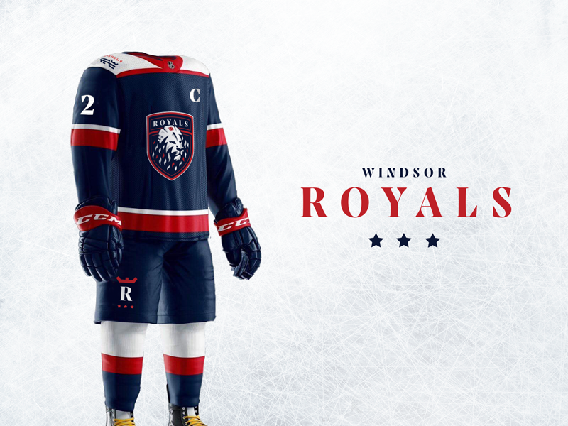 Windsor Royals Hockey Club - Branding & Uniforms hockey jersey junior hockey uniforms lion royal ice hockey hockey logo design branding sports