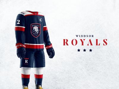 Windsor Royals Hockey Club - Branding & Uniforms hockey jersey junior hockey uniforms lion royal ice hockey hockey logo design branding sports
