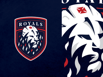 Windsor Royals Hockey Club - Logo w illustration sports logo uniforms hockey jersey crown crest lion branding logo hockey