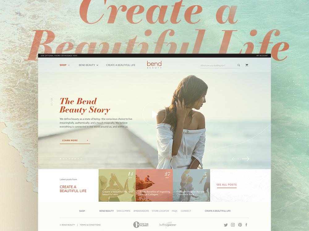 Bend Beauty Website Design soft warm skin care beauty website website web typography texture ux ui web design branding
