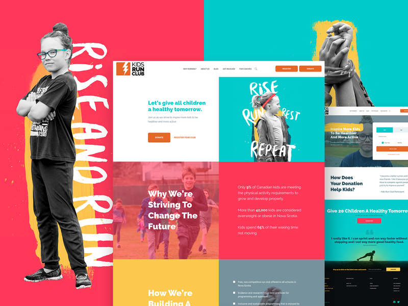 Kids Run Club - Brand update & website logo web paint excercise health non-profit kids run club running ux ui web design branding