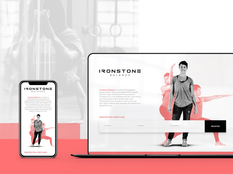 Ironstone Balance  - Landing Page Design portrait photography form lead gen landing page yoga gym crossfit portrait photography madewithxd web ux ui web design branding