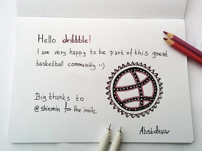 Hello dribbble crayons liner drawing handdrawn hello debut