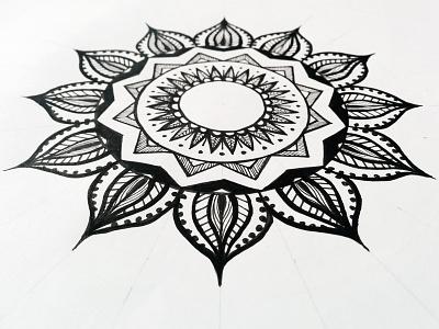 Mandala geometry white doodle. black drawing lines lineart centered circles zenart zentagle mandala