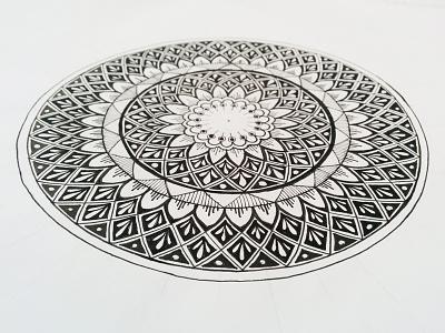 Dark mandala circles zentagle zenart white mandala lines lineart geometry drawing black doodle centered