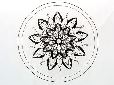 Mandala harmony bloom leaves lines pure circle geometry ink centered floral zenart mandala