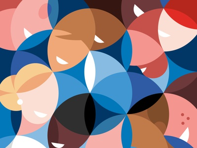 Diversity social abstract minimal graphic character editorial illustration man woman smiles circles pattern geometry people inclusion diversity