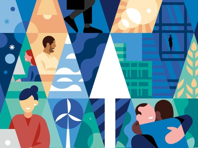 Sustainability arrow elements window crop smile woman sun clouds triangles character editorial illustration geometry buildings windmill hug office work nature sustainability