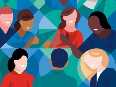 Teamwork design collaborate meeting office workplace diversity smile minimal graphic geometry economy editorial illustration character people work team
