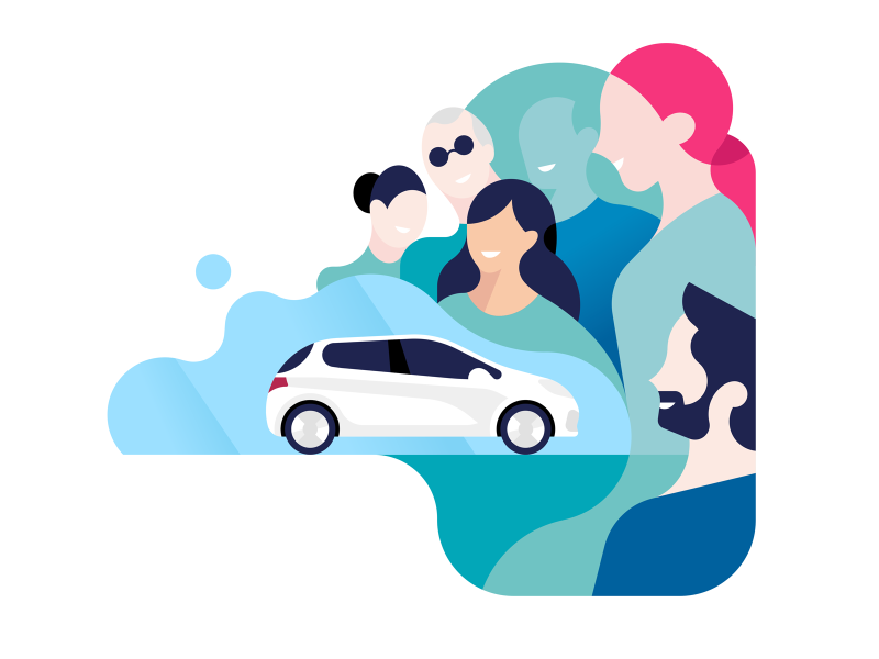 Free2Move website hair pink move free car group smile people minimal graphic design character spot illustration