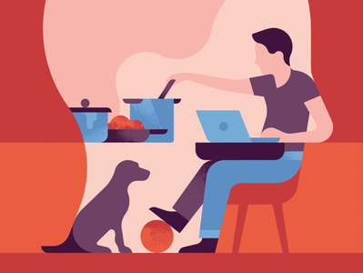 Head Space ball laptop hair chair wfh home from working space head inside cooking dog design minimal character graphic man illustration