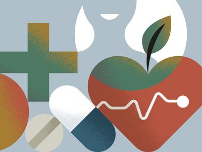 Healthcare texture design graphic minimal heartbeat leaf character smile apple pill medicine cross heart healthcare
