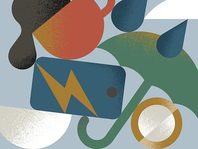 Insurance textures graphic minimal illustration lightning fall break phone accident cloud drop rain coin coffee cup umbrella insurance