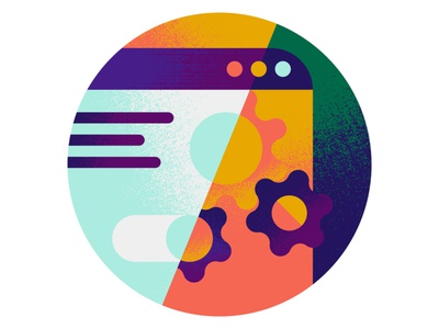 Automated tool design application graphic button spot icon browser app illustration textures minimal form engine machine cogs bolts platform online tool automated