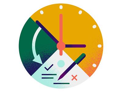 Admin reduction design minimal graphic spot illustration arrow reduction cross check pen alarm time clock form admin
