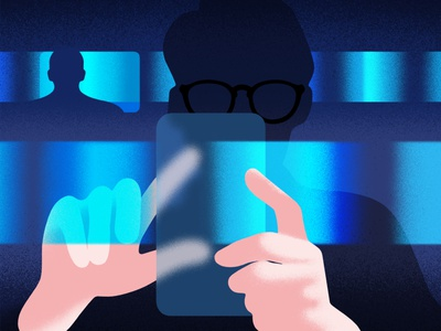 'Swiping & scrolling' detective crime hands research screens scroll phone glasses dark investigate police character man minimal graphic editorial illustration