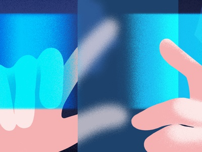 'Swiping & scrolling' phone faded light bright layers design minimal graphic blur shades textures hands details crop illustration