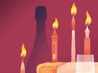 10 years birthday celebrate crop gradients details textures glass cake flame candles wacom pen pencil bottle champagne design illustration