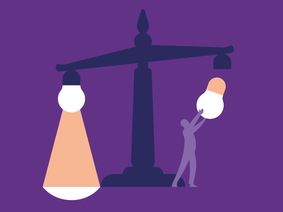 People-centered justice concept innovation lightbulb vector justice scale people lamp light law design man minimal graphic spot character illustration